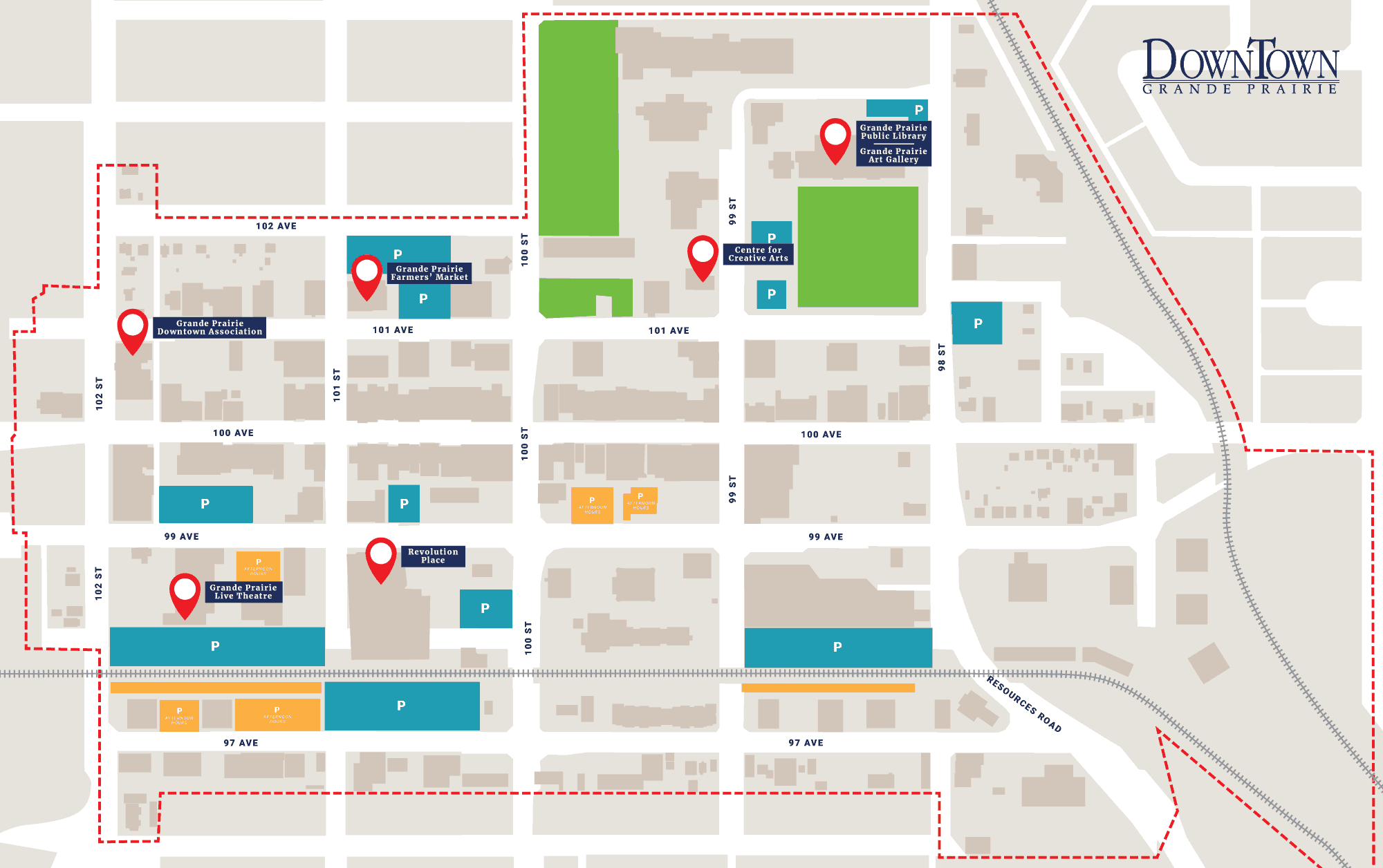 Grande Prairie Downtown Association Footer Map